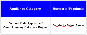 Data Warehouse Appliance - Complimentary Vendor